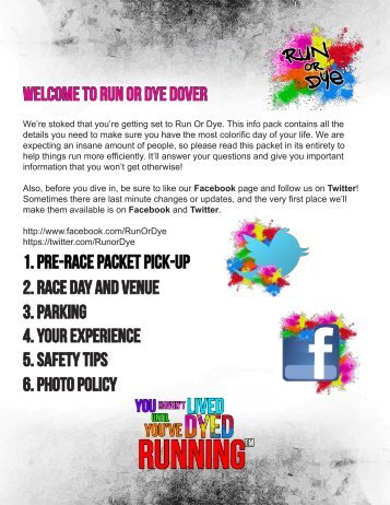 welcome to run or dye Dover 1. pre-race packet pick-up 2. Race Day ...