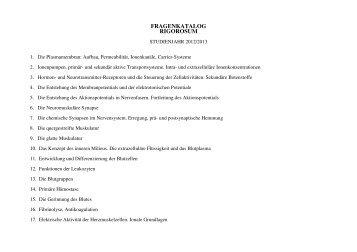 Medizinische Physiologie II. PRÜFUNGSKURS! Rigorosum