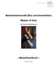 Betriebswirtschaft (Bau und Immobilien) Master of Arts  ...
