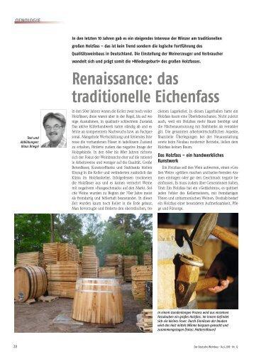 Renaissance: das traditionelle Eichenfass - Weinlabor Briegel