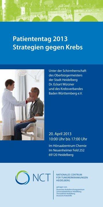 Patiententag 2013 Strategien gegen Krebs - Treffpunkt Krebs