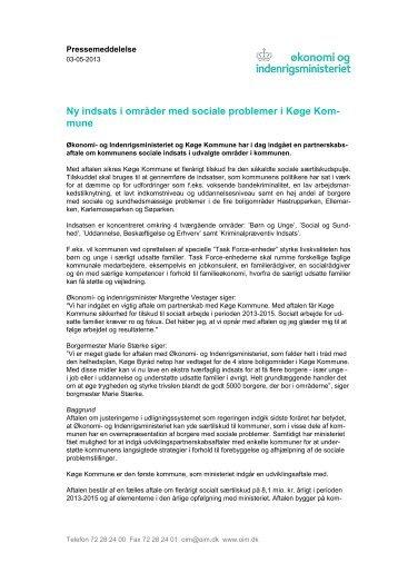 Ny indsats i områder med sociale problemer i Køge Kom- mune