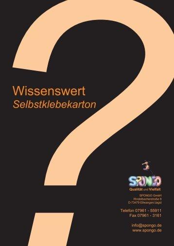 Wissenswertes zur Verwendung von ... - SPONGO GmbH