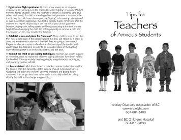 Tips for Teachers- Anxious Students