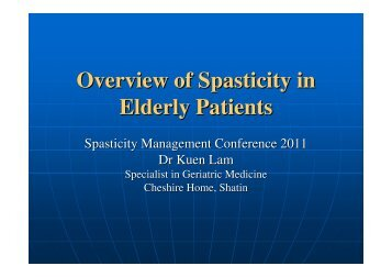 Overview of Spasticity in Elderly Patients - The Hong Kong Geriatrics ...