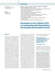 Kommentar zu den Leitlinien 2010 zur kardiopulmonalen ... - ZARI
