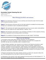 Download our water damage information and ... - Carpet Cleaning