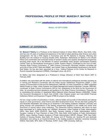 Detailed CV - National Institute of Urban Affairs