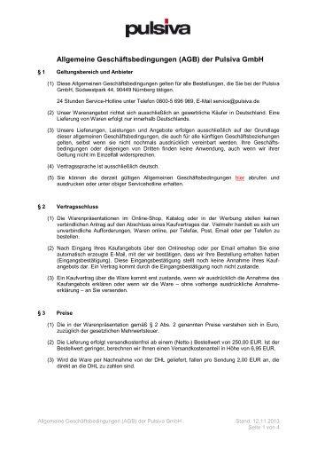 Allgemeine Geschäftsbedingungen (AGB) der Pulsiva GmbH