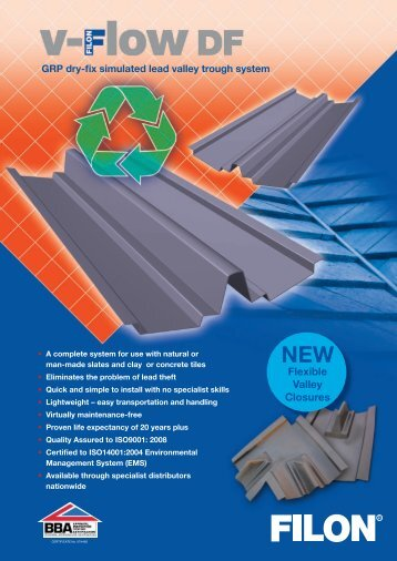 V-Flow DF dry-fix GRP valley gutter system - Filon Products