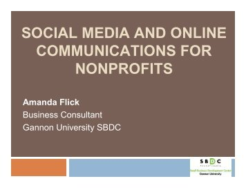 Social Marketing and Online Communication for Nonprofits