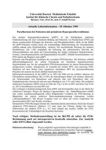 Parathormon bei Patienten mit primärem Hyperparathyreoidismus