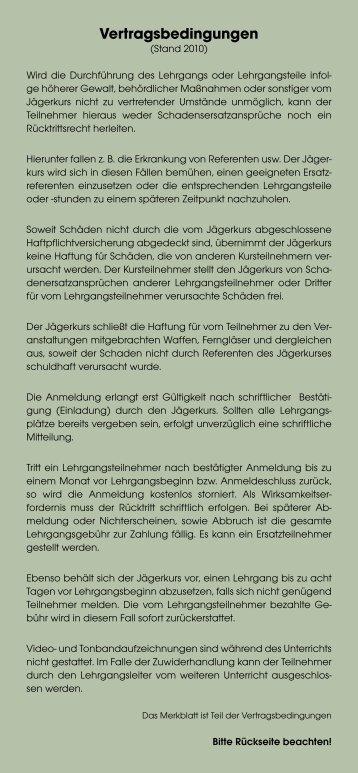 Vertragsbedingungen zum Jägerkurs (PDF)