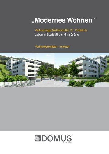 """""""Modernes Wohnen"""" """"Modernes Wohnen"""" - DOMUS Wohnbau GmbH"""
