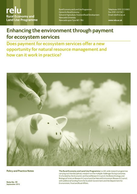 Enhancing the environment through payment for ecosystem services