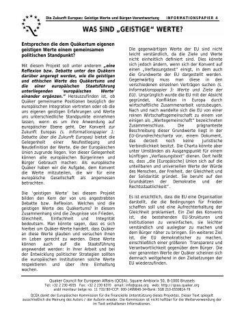 "was sind ""geistige"" werte? - Quaker Council for European Affairs"