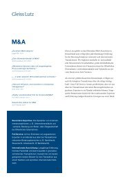 Fact Sheet M&A - Gleiss Lutz
