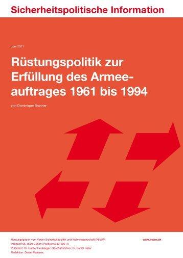 Rüstungspolitik zur Erfüllung des Armee- auftrages 1961 ... - VSWW