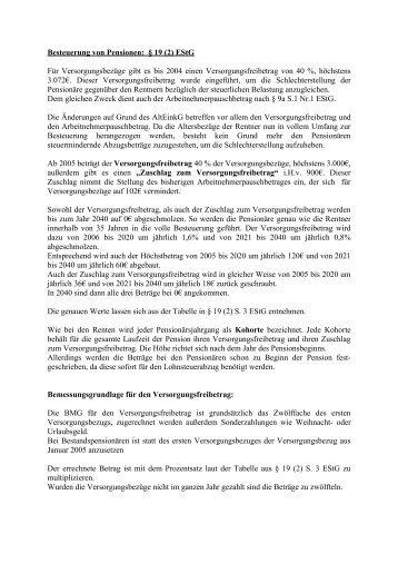 Besteuerung von Pensionen: § 19 (2) EStG - für die S2-04
