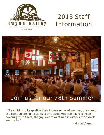 2013 Staff Information - Gwynn Valley