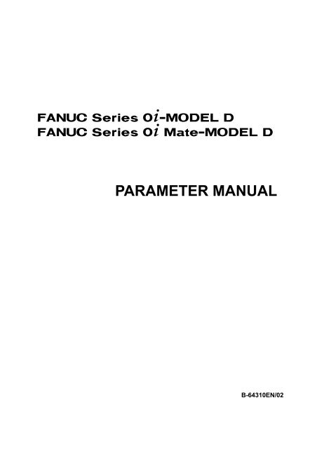 FANUC Series 0i-MODEL D/0i Mate-MODEL D PARAMETER
