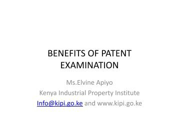 benefits of patent examination - Department of Trade and Industry