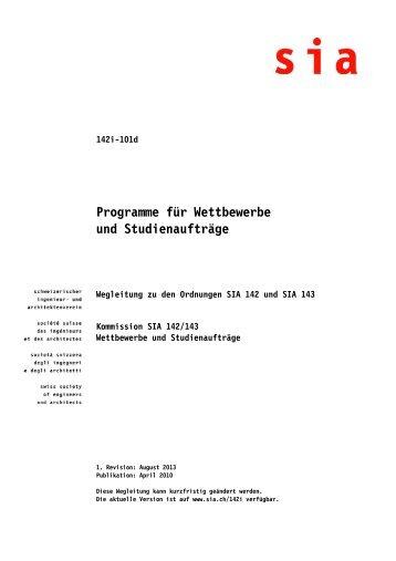 Programme für Wettbewerbe und Studienaufträge - sia