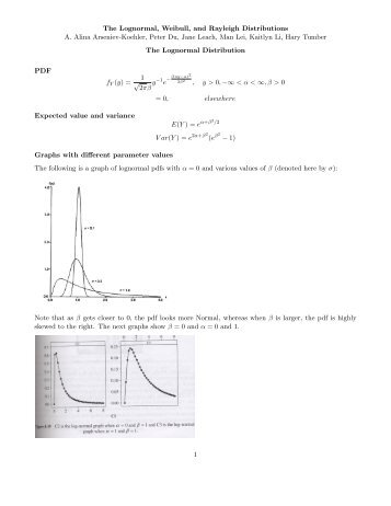 The Lognormal, Weibull, and Rayleigh Distributions A ... - Statistics