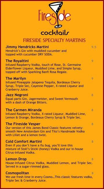 03 12 13 Fireside Drink Menu - Fireside Martini and Wine Bar