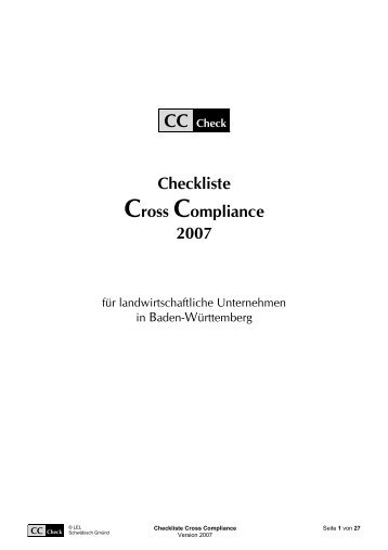 Checkliste Cross Compliance 2007