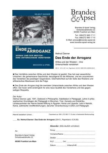 Das Ende der Arroganz - Helmut Danner