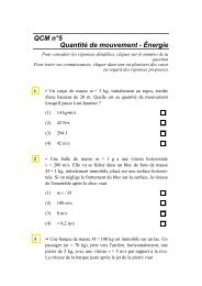 QCM n°5 Quantité de mouvement - Énergie