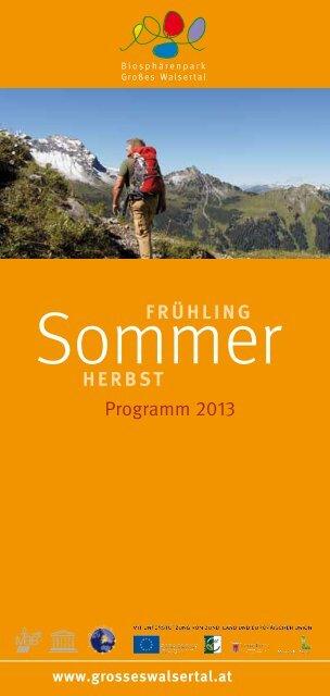Sommer - Herbst Programm 2013 - Biosphärenpark Großes Walsertal