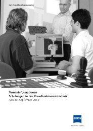 Termininformationen Schulungen in der Koordinatenmesstechnik ...