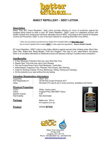 INSECT REPELLENT – DEET LOTION - better than...