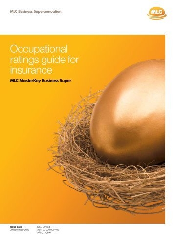 Occupational ratings guide for insurance - MLC
