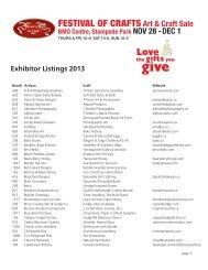 Exhibitors Listing - Festival Of Crafts Art & Craft Sale