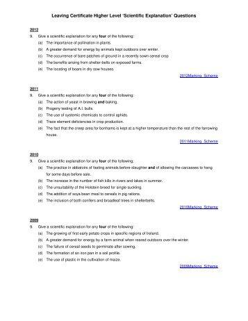 Leaving Certificate Higher Level 'Scientific Explanation ... - PDST