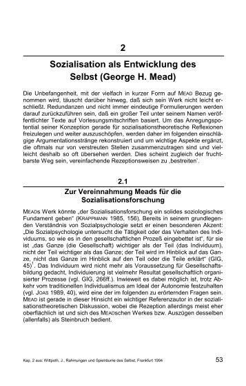 Kapitel 2: Sozialisation als Entwicklung des Selbst (George H. Mead)