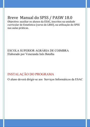 Breve Manual do SPSS / PASW 18.0 - ESAC