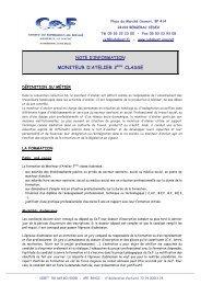 Note d'information Moniteur d'Atelier 2010 - Fondation John Bost