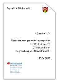 Begründung und Umweltbericht - Gemeinde Winkelhaid