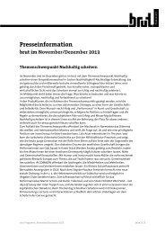 Presseinformation brut im November/Dezember 2013