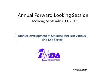 Market Development of SS in Various End Use Sector by Rohit ...