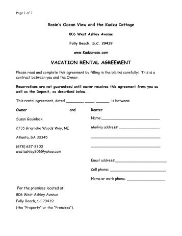 Randall Glen Vacation Rental Agreement