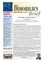 Immobilien- und Fonds-Spezial Oktober 2006 - Der Immobilienbrief