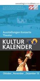Kulturkalender 2013 - Oktober bis Dezember - Stadt Wesseling