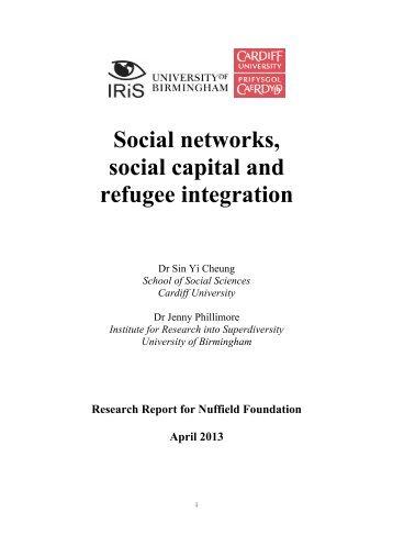 Social networks, social capital and refugee integration - University of ...