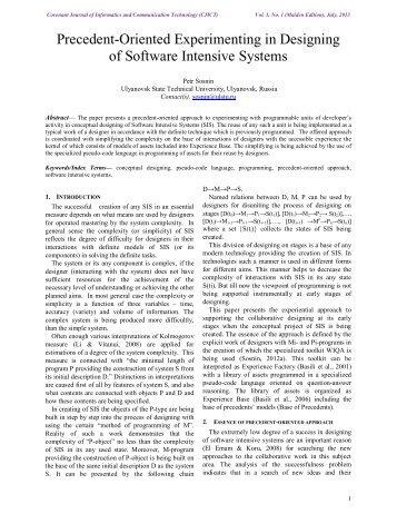 Precedent-Oriented Experimenting in Designing of ... - Journals