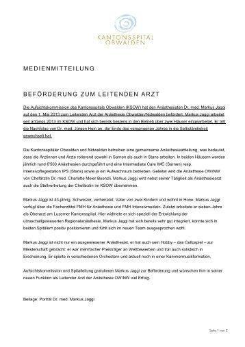MM Beförderung Markus Jaggi - Kantonsspital Obwalden